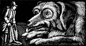 wood-engraving original print: Third Dog for Four Tales from Hans Andersen